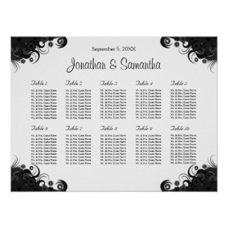 Black and White 10 Wedding Tables Seating Charts Poster
