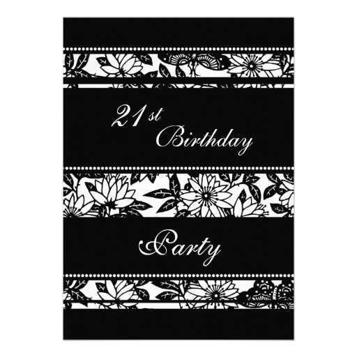 Black and White 21st Birthday Party Invitations