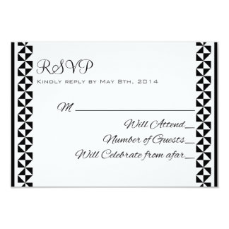 Black and White 3 Elegant RSVP Cards 9 Cm X 13 Cm Invitation Card