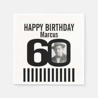 Black and white 60th birthday stripe photo napkins paper napkins