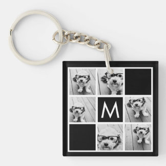Black and White 6 Photo Collage Custom Monogram Key Ring