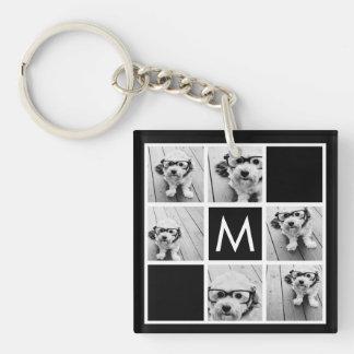 Black and White 6 Photo Collage Custom Monogram Single-Sided Square Acrylic Key Ring