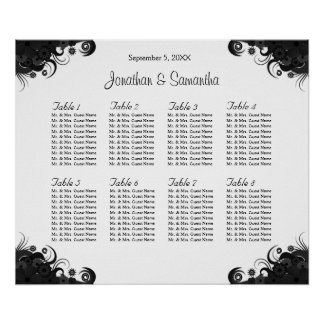 Black and White 8 Wedding Tables Seating Charts Poster