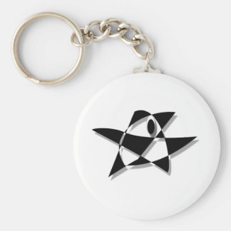 Black And White Abstract Bird Key Chain