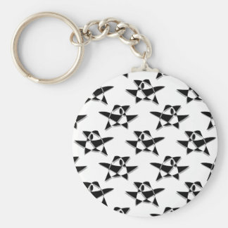 Black And White Abstract Bird Pattern Key Chain