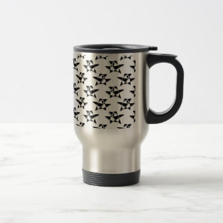 Black And White Abstract Bird Pattern Coffee Mugs