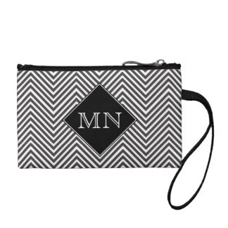 Black and White Abstract Chevron Pattern Monogram Coin Purse