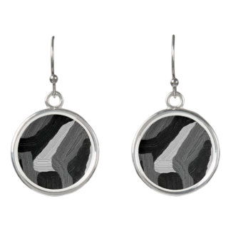 """Black and White Abstract"" Drop Earrings"