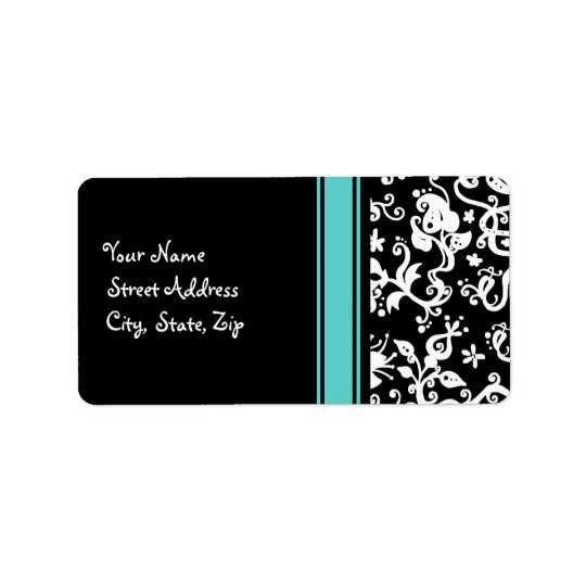 Black and White Abstract Floral Pattern Address Label