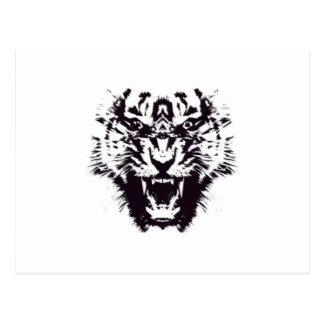 Black and White Abstract Jagged Angry Tiger Postcard