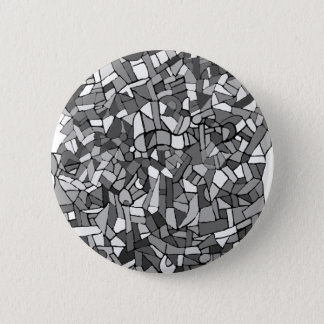 black and white abstract mosaic 6 cm round badge