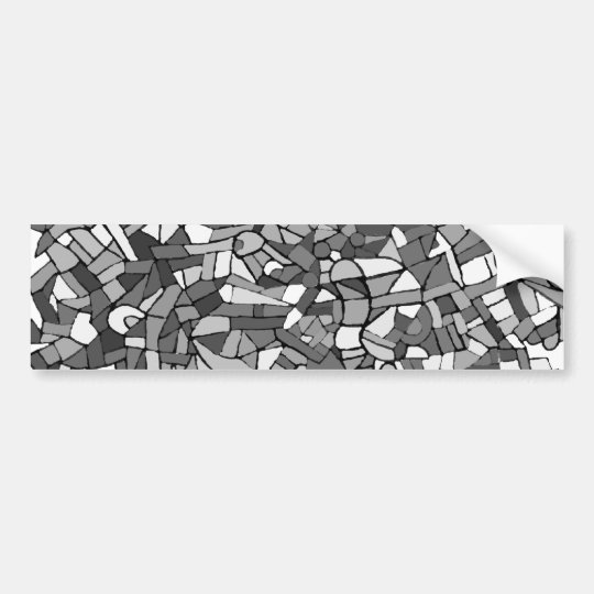 black and white abstract mosaic bumper sticker