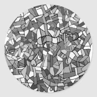 black and white abstract mosaic classic round sticker