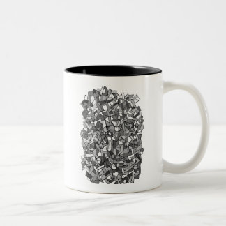 black and white abstract mosaic coffee mugs