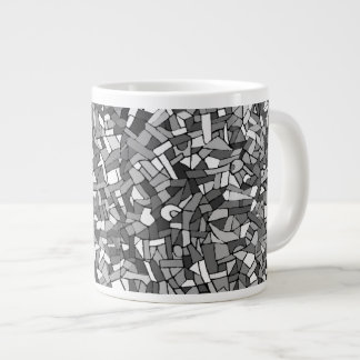 Black and white abstract mosaic jumbo mug