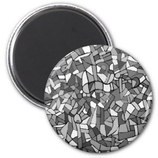 black and white abstract mosaic fridge magnet