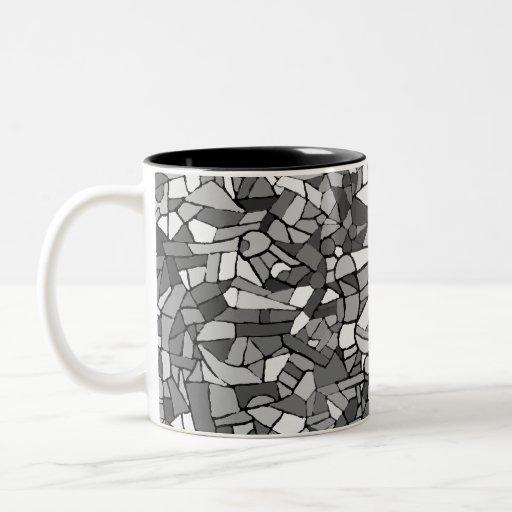 black and white abstract mosaic mugs