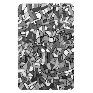 Black and white abstract mosaic rectangular magnets