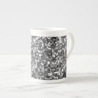 Black and white abstract mosaic porcelain mug