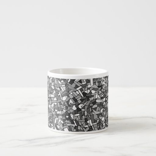 Black and white abstract mosaic espresso cup