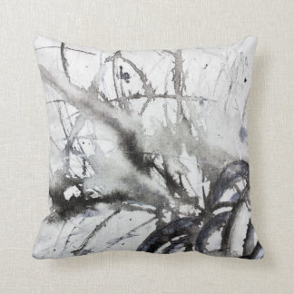 Black and White Abstract Original Grey Painting Cushion