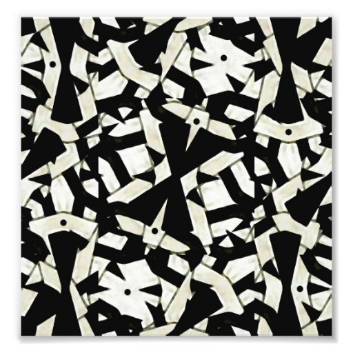 Black and White Abstract Ornament Pattern Photo