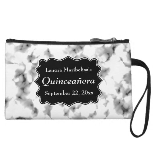 Black and White Abstract Pattern Quinceanera Wristlets