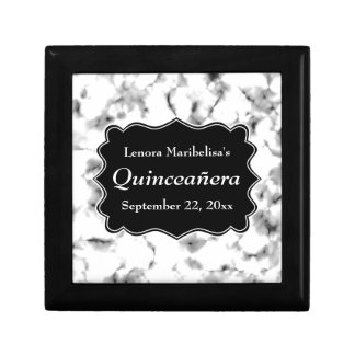 Black and White Abstract Pattern Quinceanera Gift Box