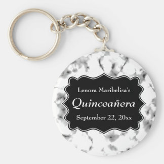Black and White Abstract Pattern Quinceanera Keychain