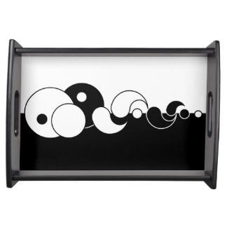 Black and White Abstract Serving Tray