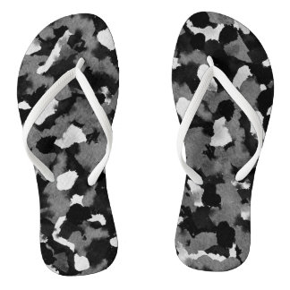 Black and White Abstract Shower Shoes FlipFlops