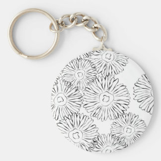 Black and white abstract spring flowers basic round button key ring