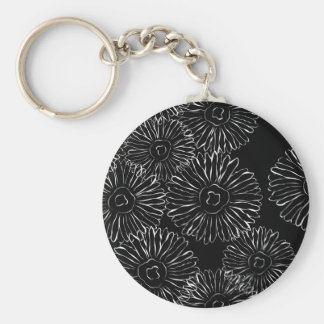 Black and white abstract spring flowers key chains