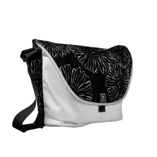 Black and white abstract spring flowers messenger bags