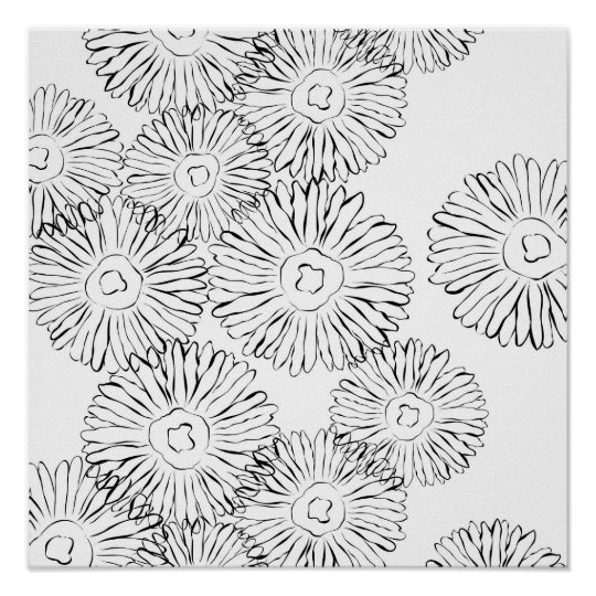 Black and white abstract spring flowers poster
