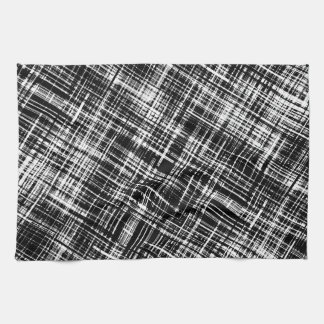 Black and White Abstract Stripe Pattern Tea Towel