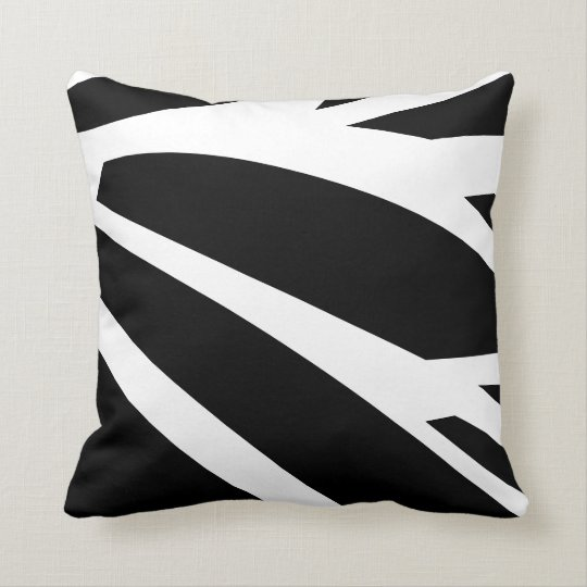 black and white abstract stripes cushion