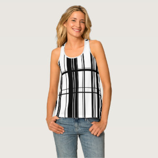 black and white abstract stripes tank top