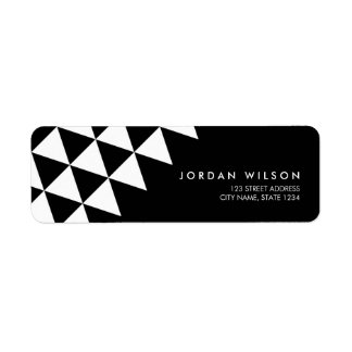 Black and White Abstract Triangle Modern Address Return Address Label