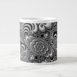 Black and White Abstract With Circles Jumbo Mug