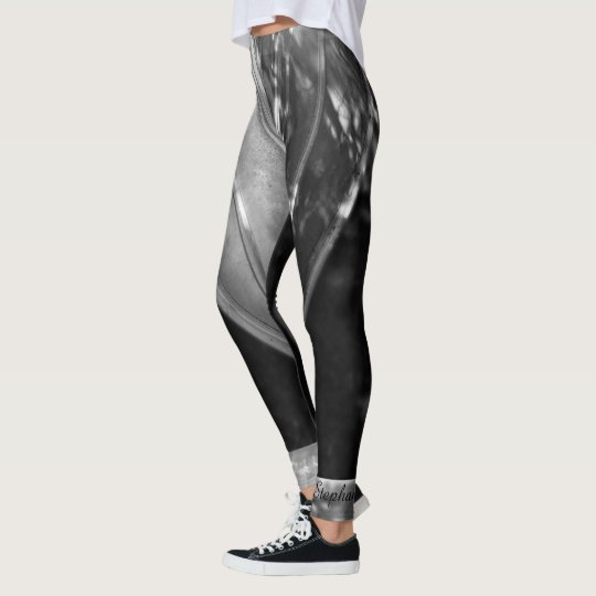 Black and White Abstract with Personalised Name Leggings