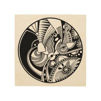 Black And White Abstract Zendala On Circle 5 Wood Wall Art