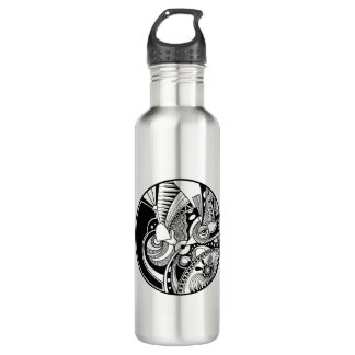 Black And White Abstract Zendala On Circle 710 Ml Water Bottle