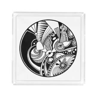 Black And White Abstract Zendala On Circle Acrylic Tray