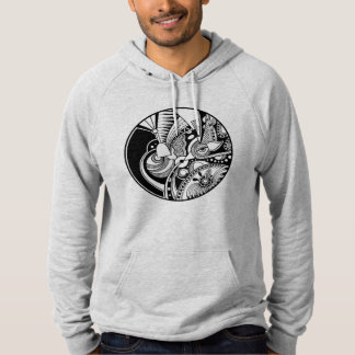Black And White Abstract Zendala On Circle Hoodie