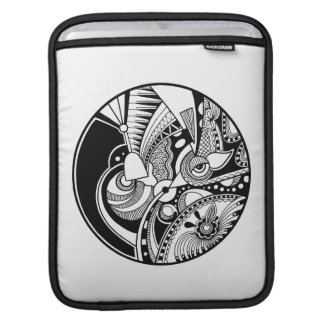 Black And White Abstract Zendala On Circle iPad Sleeve