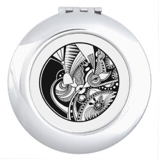 Black And White Abstract Zendala On Circle Makeup Mirror