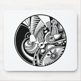Black And White Abstract Zendala On Circle Mouse Mat