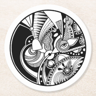 Black And White Abstract Zendala On Circle Round Paper Coaster