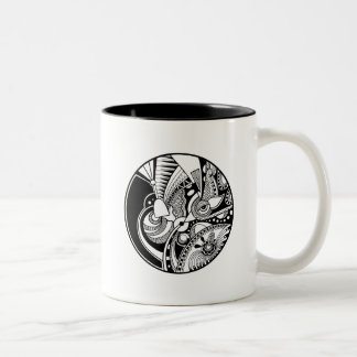 Black And White Abstract Zendala On Circle Two-Tone Coffee Mug